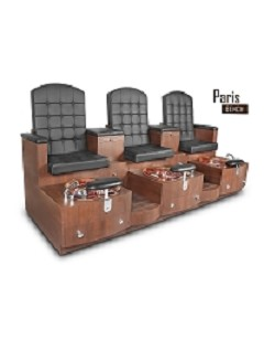 Gulfstream Paris Triple Pedicure Bench in Black