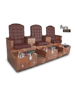 Gulfstream Paris Triple Pedicure Bench in Burgundy